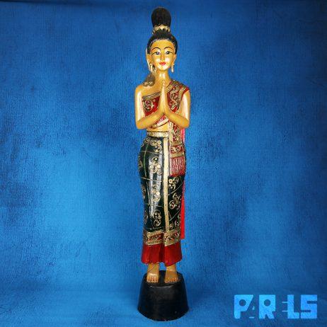 groot houten beeld Thailand Sawadee Sawasdee groet traditioneel houtsnijwerk