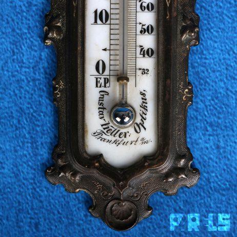 antieke Gustav Keller Zimmermann Optikus thermometer gietijzer zeldzaam kwik Hanau temperatuur