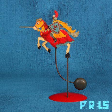 vintage skyhooks balans speelgoed ridder paard balanceren pendulum zwaartekracht
