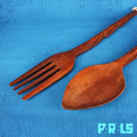 extra groot houten bestek lepel vork XL houtsnijwerk