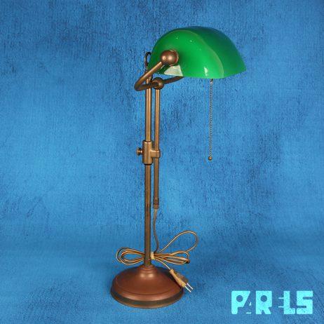 klassieke notarislamp bankierslamp bureaulamp groen glazen kap trekschakelaar LumiLamp