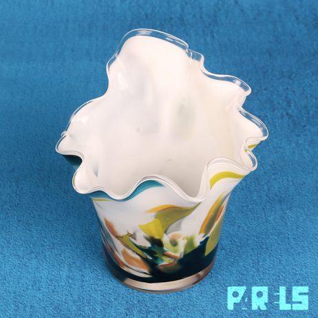 mondgeblazen glazen vaasje geschulpt glas handgemaakt