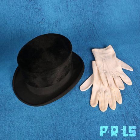 vintage hoge hoed handschoenen doos Peek Cloppenburg Durable Hat vilt