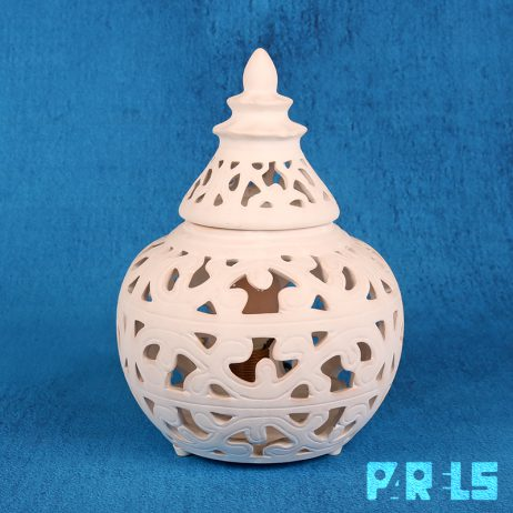 witte Marokkaanse tafellamp kerarmiek gips