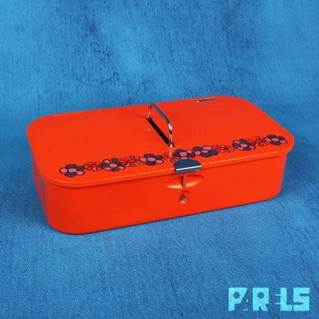 vintage metalen poetsmiddelen doos trommel blik Brabantia metaal oranje Diane