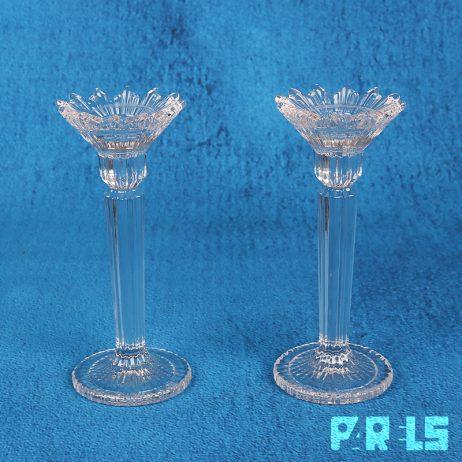 set klassieke glazen kandelaars tafelkaarsen