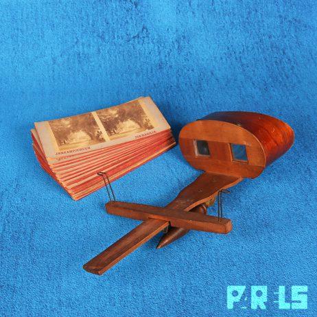 antieke houten Brewster stereoscoop stereokijker kaarten foto's Soerabaja Indonesië Java lenzen oculair fotograaf Kampschuur historisch