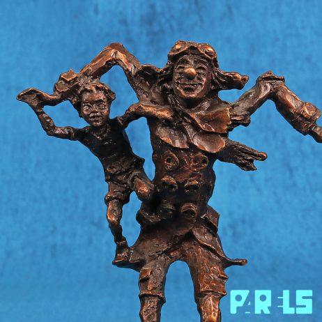 brons verbronsd tin beeldje clown brigitte van der houdt