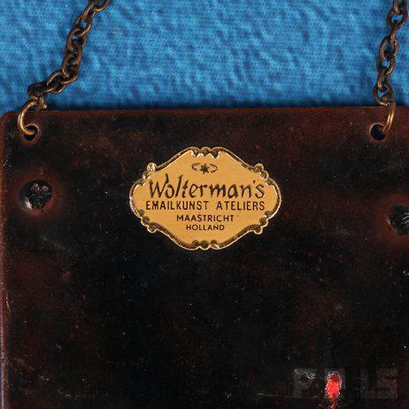 vintage Wolterman's Emailkunst Ateliers Maastricht Holland schilderijtje emaille minstreel antiek
