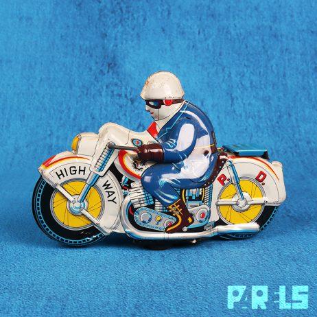 vintage blikken speelgoedmotor politiemotor Japan ATC Asahi P. D. Highway frictiemotor
