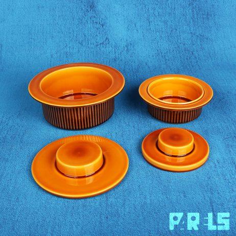 set vintage schalen Noovo Potterie Driehoek Huizen Holland schaal deksel ribbels servies