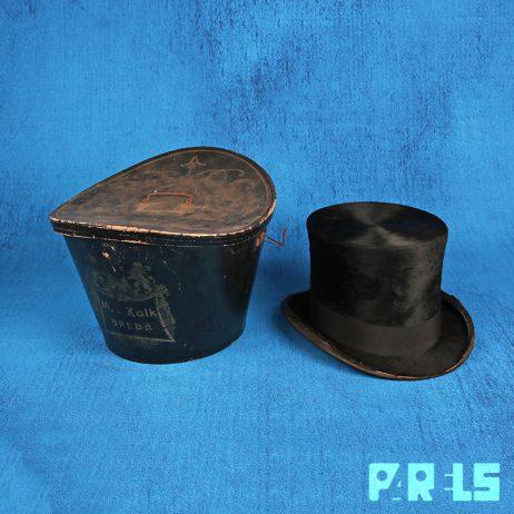 vintage hoge hoed hoedendoos M.J. Kolk Breda herenmodezaak vilt