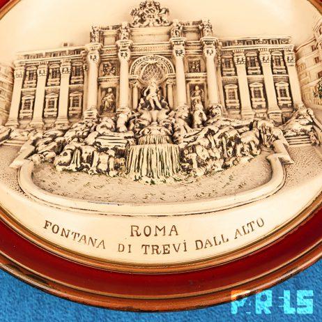 vintage 3D sierbord Musterschutz Trevifontein Rome JM diepte reliëf
