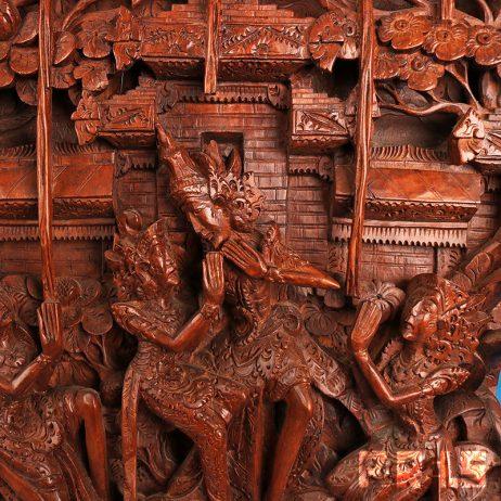 paneel houtsnijwerk Indonesië Bali Ramanyana handgemaakt Indonesisch Rama Sinta Hindoeïsme