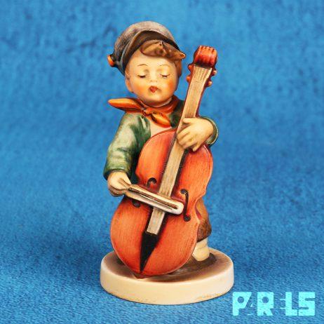 vintage beeldje Hummel Goebel porselein 186 West Germany Duitsland Sweet Music muzikant bassist cello Reinhold Unger