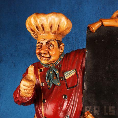 groot beeld kok bakker slager krijtbord menubord menukaart etalage winkel