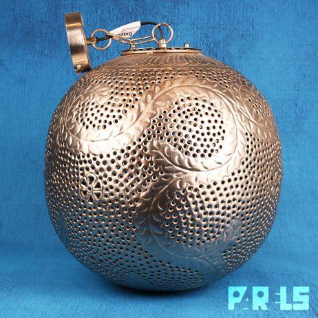 grote Oosterse metalen filigrain hanglamp gaatjes licht groot metaal