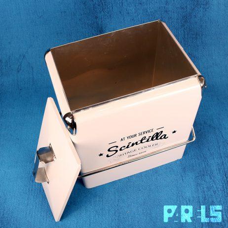 retro metalen koelbox metaal cooler drank koelen flesopener