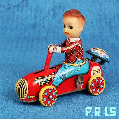 vintage blikken speelgoed jongen auto racewagen mechanisch opdraaien opwinden rijden blik