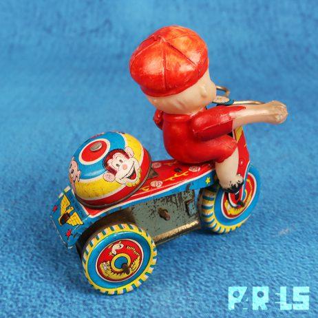 vintage blikken speelgoed Taiwan China mechanisch jongen driewieler fietsje opdraaien opwinden