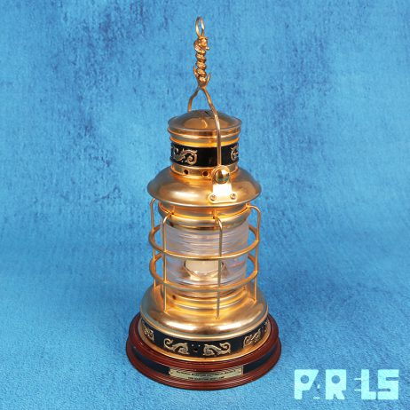 goud vergulde scheepslamp Franklin Mint Maritime Ship Lamp 24 karaat Historical Society slang anker dolfijnen Cutty Sark