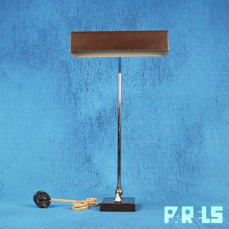 heca edam nederland vintage bureaulamp jaren '60 donker bruin industrieel