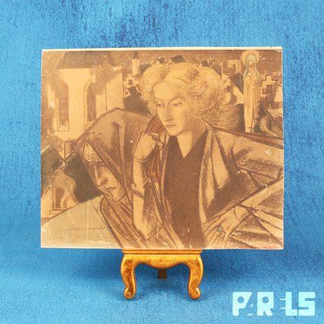 Litho Jan Toorop La Belgique Sanglante steendruk ingelijst gebold glas kunstwerk 1914