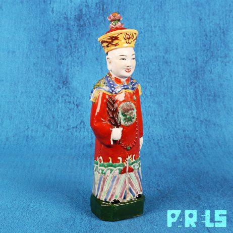 antiek porseleinen beeldje Chinese keizer Qing dynastie China gemerkt