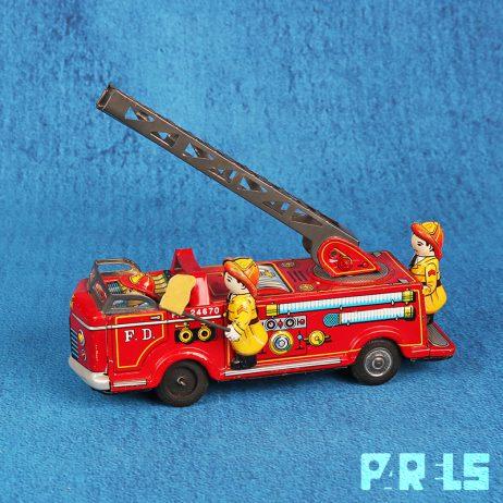 vintage blikken speelgoed brandweerwagen T.N. Nomura Japan Tokio brandweerauto F.D. 24670 fire truck toy